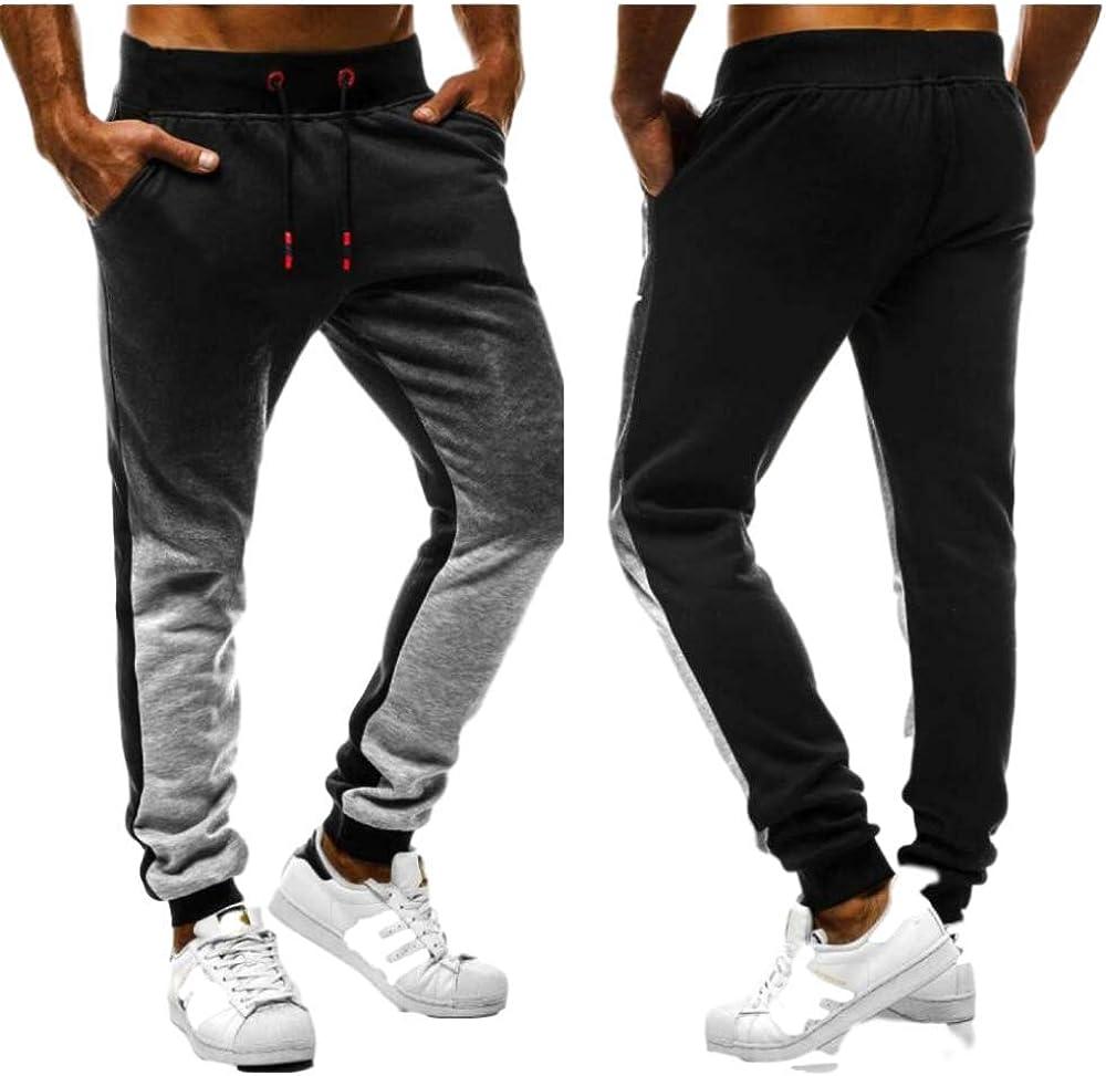 Men's Casual Pants Fashion Drawstring Elastic Waist Sports Gradient