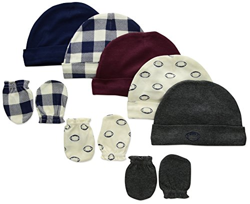 Hudson Baby Unisex Cotton Cap and Scratch Mitten Set, Football, 0-6 Months