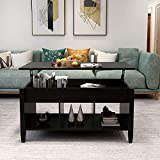PinnacleT1 Adjustable Lift Top Coffee Table, Lift Tabletop Dining Table for Living Room, Living Room Office w/Hidden Storage, Shelf for Home Living Room Furniture