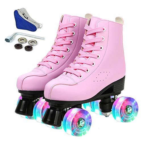 Zweireihige Schlittschuhe für Frauen Led Rad Rollschuhschuhe PU-Leder High-Top Zwei-Line Blinkt Rollerblades Indoor Outdoor Rollschuhe für Anfänger (45,Pink)