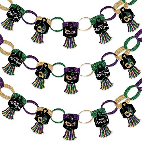 Big Dot of Happiness Mardi Gras - 90 Chain Links and 30 Paper Tassels Decoration Kit - Masquerade Party Paper Chains Garland - 21 feet