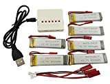 Fytoo Ersatzakku für UDI U817 U818A V959 V222 V929 S032 Vier-Achs-Hubschrauber,inkl:6pcs 3.7 600mAh Batterie Akku mit 6 in 1 Ladegeräte