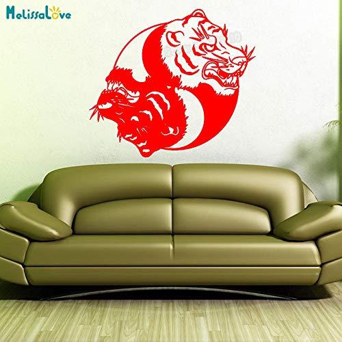 yaoxingfu Nuevo diseño Mandala Tiger Etiqueta de la Pared decoración para el hogar para Sala de Estar Yin Yang Floral Vinilo Vinilo calcomanía Arte Mural decoración Y WW-2 94x84cm