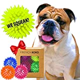 French KOKO Squeaky Dog Ball Toys, 3' Tennis Ball Size Spiky Rubber Dog Balls, Puppy Small Medium Pet Best Chewing Gift Box Rubber Ball Aggressive Chewers Outdoor Indoor SpikeyToy