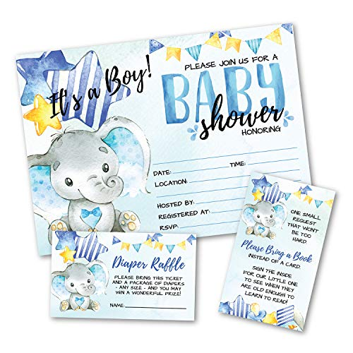 Deluxe Blue Elephant Baby Shower Invitations, Jungle, Tropical Safari Animals, Its A Boy Party Invites, Includes- 20 Each Large Double Sided 5 x 7 Invites, Raffle Tickets, and Book Request Inserts