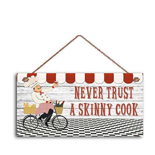 MAIYUAN Never Trust A Skinny Cook Sign, Fat Chef Sign, WC Best Chef, French Chef Cafe Sign, 5