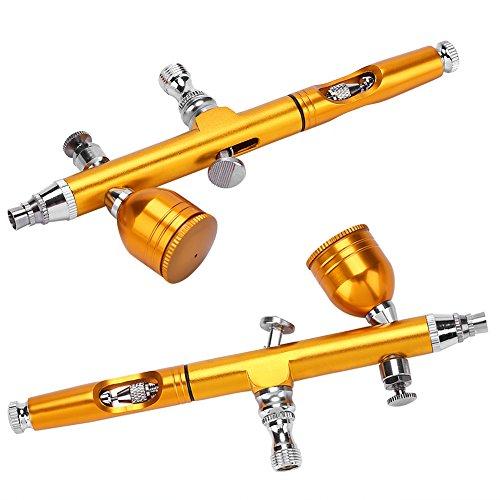 Pistola para aerógrafo, 0,2 mm Gravity Feed Airbrush Gun Pistola de pulverización Art Tattoo Paint Nail Decoration Tools dorado