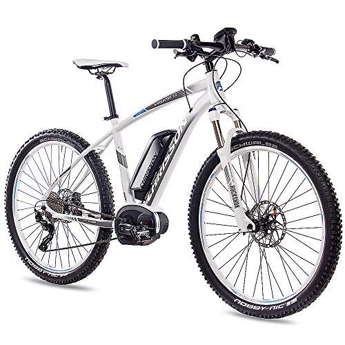 CHRISSON 27,5 Zoll E-Bike Mountainbike Bosch - E-Mounter 3.0 Weiss 44cm - Elektrofahrrad, Pedelec für Damen und Herren - Bosch Motor Performance Line CX 250W, 75Nm - Intuvia Computer