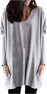 Womens Solid Warm Long Sleeve V Neck Sweatshirt Loose Print Pullover Tops Blouse
