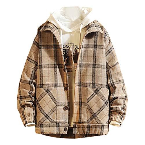 Herren Plaid Print Jacke Mantel Mode Spleißen Langarm Casual Pocket Übergroße Hoodie Sweatshirt(3XL,Khaki)