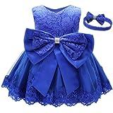 KILO&METERS Formal Prom Summer Wedding Girls Dresses A-line Sleeveless Knee Length Tutu Ruffle Kids Dress Princess Christeing Birthday Party Baby Dress 18M Royal Blue