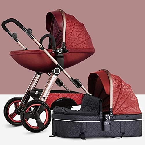 Sistemas de viaje de cochecito de bebé liviano portátil, cochecito de cochecito de cochecito liviano y compacto de nacimiento a 25 kg para recién nacidos y niños pequeños, rosa, H099ZJ (Color : Red)