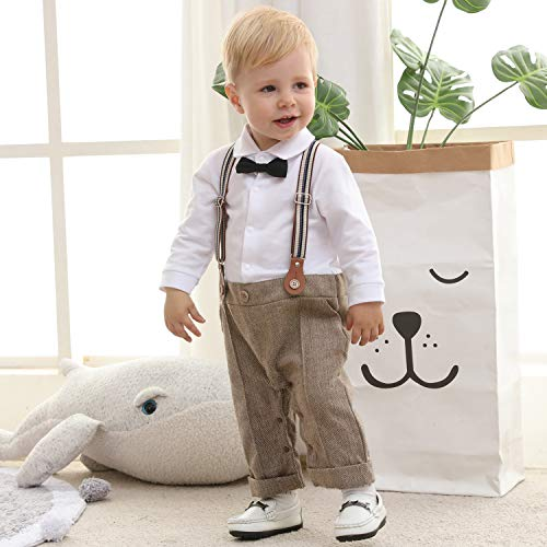 ZOEREA Baby Boy Outfits Set, 3pcs Long Sleeves Gentleman Jumpsuit & Vest Coat & Berets Hat with Bow Tie Brown
