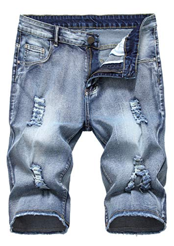 Sarriben Men's Casual Summer Distressed Button up Stretch Ripped Jeans Shorts with Repair Rips Grey Blue