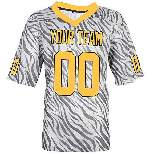 Pullonsy Gray Zebra Pattern Customized Football Jerseys for Women Embroidery Your Name and Numbers,Yellow-Black,Size L