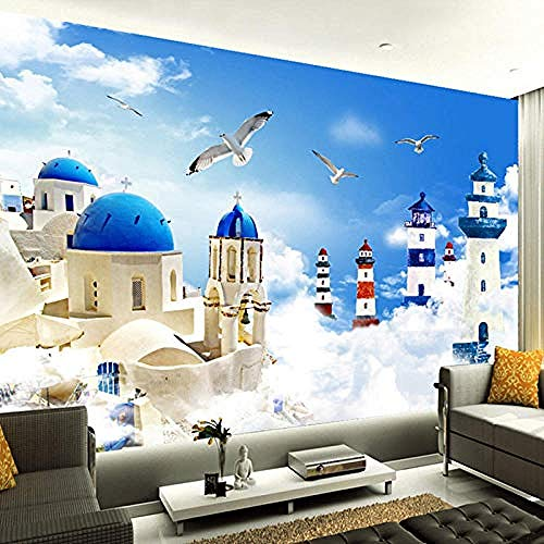 Wandbilder Hintergrundbild Bilder Cartoon Leuchtturm Möwe Selbstklebende PVC-Tapete 3D Vintage Friseursalon Friseur Tapete wandpapier fototapete 3d effekt tapeten Wohnzimmer Schlafzimmer-200cm×140cm