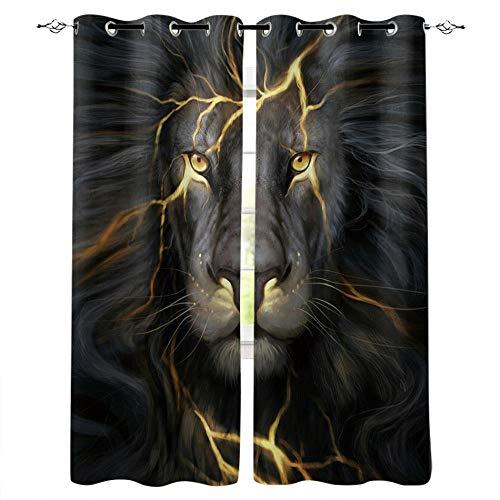 MXYHDZ Cortinas Salón Opacas - Negro Animal león Creativo - Impresión 3D Aislantes de Frío y Calor 90% Opacas Cortinas - 140 x 160 cm - Salon Cocina Habitacion Niño Moderna Decorativa
