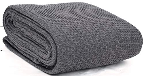 EUROTEX 100% Cotton Thermal Blanket - 350 GSM Soft Blanket in Waffle Weave for Home Decoration - Perfect for Layering Any Bed for All-Season - King Size (108 x 90 inches), Grey