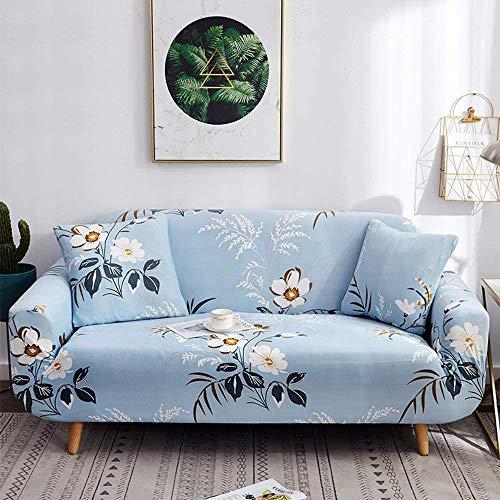 HFTYCC Fundas para sofá de tela elástica de 1 a 4 plazas, nórdico retro floral, protector de muebles para sofá de esquina, extraíble, lavable, de cuero, fundas para sofá, juegos de 1 plaza, azul cielo