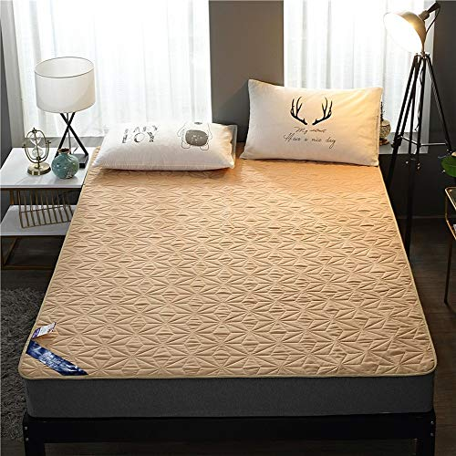 ABUKJM Funda de colchón impermeable, con banda elástica, antiácaros, protector de colchón impermeable, para colchón de cama (camello, 120 x 200 cm)