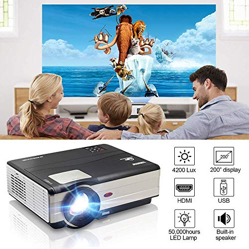 "Video Projector, 4200 Lux Support 1920x1080 Projector with Built-in Speaker, 200"" Display, Compatible with PS4, Laptop, Smart Phone, TV Stick, HDMI/VGA/USB, Movie Projector for Home Entertainment"