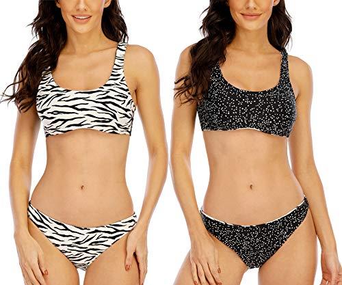 Halcurt Cheeky Bikini Swimsuit Tied Spaghetti Strap Zebra Halter Bikinis Set XXS