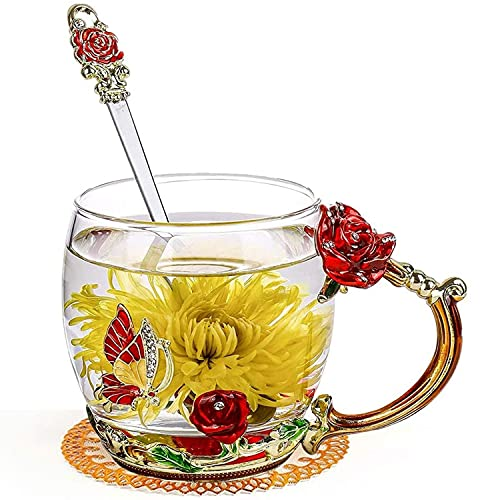 GUIFIER Handmade Butterfly Clear Glass Cups with Spoon Set,Enamel Glass Coffee Mugs,Floral Tea Cups with Handles for Women Valentine's Day Birthday Christmas Decoration Wedding Gift(Red Rose Short)
