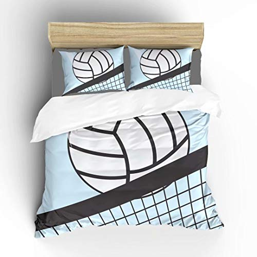 Aluy's boutique Abstract Volleyball in Net Ultra Soft Bedding Sets Duvet Cover Set, Twin Size 2 Pieces with 1 Duvet Cover and 1 Pillowcase, Best Gift for Kids, Boys, Girls