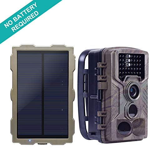 ECO LLC Hunting Trail Camera with Portable Solar Panel Charging | 46Pcs IR LEDs | 16 Mega Pixel | 1080p Video Audio | 2.4' HD LCD Screen Night Vision Waterproof | for Home Security Farm Monitoring