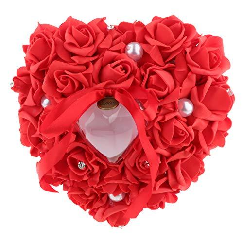 Hellery Caja de Corazón de Almohada de Anillo de Bodas con Cinta de Perlas para Ceremonia de Boda - Rojo, Individual