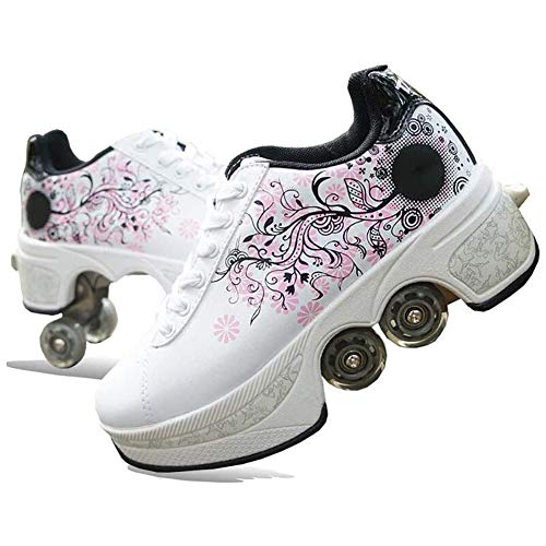 Leader Zapatos De Rodillos Zapatos del Patín 2-En-1 Multiuso 4 Ruedas De Rodillos Ajustable Zapatos De Los Patines De Patinaje Al Aire Libre Deportes Viajes Mejor Opción,36