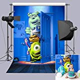 Blue Photography Backdrop Horror Monster Photo Background Playroom Decorations Children Baby Boys Birthday Photo Booths Studio Props Party Banner 3x5ft Vinyl Supplies