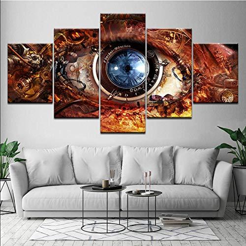 Meaosy Canvas afbeelding, abstract, oog, lens futurist, Sci Fi, 5-delig, wand, kunst, modulaire achtergrond, kunstdruk, decoratie thuis 30x40/60/80cm (12x16/24/32inch)