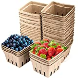 ZOENHOU Set of 40 Molded Pulp Fiber Basket Durable Berry Basket with Ventilation Slots Moisture-proof Container for Fruits and Vegetables, Farmer Market, Grocery Stores, Wood Color, 4.3' x 4.3' x 2.7'