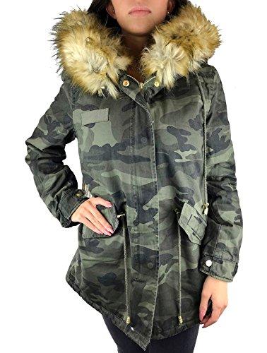 Worldclassca Parka Damen Winter Jacke MIT Patches XXL KUNSTFELL PINK ROSA Kapuze Mantel Fashion Jacket Blogger MIT REIßVERSCHLUSS NEU GEFÜTTERT WARM Army GRÜN Military Army (XL, Camouflage M2-Beige)