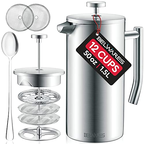 Large French Press Coffee Maker - 50oz, 1.5L Double Wall 304 Stainless...