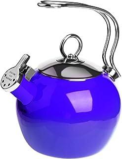 AIDEA Tea Kettle, 1.7 Quart Whistling Enamel Stainless Steel Teakettle Tea Pot for Stovetop Cobalt