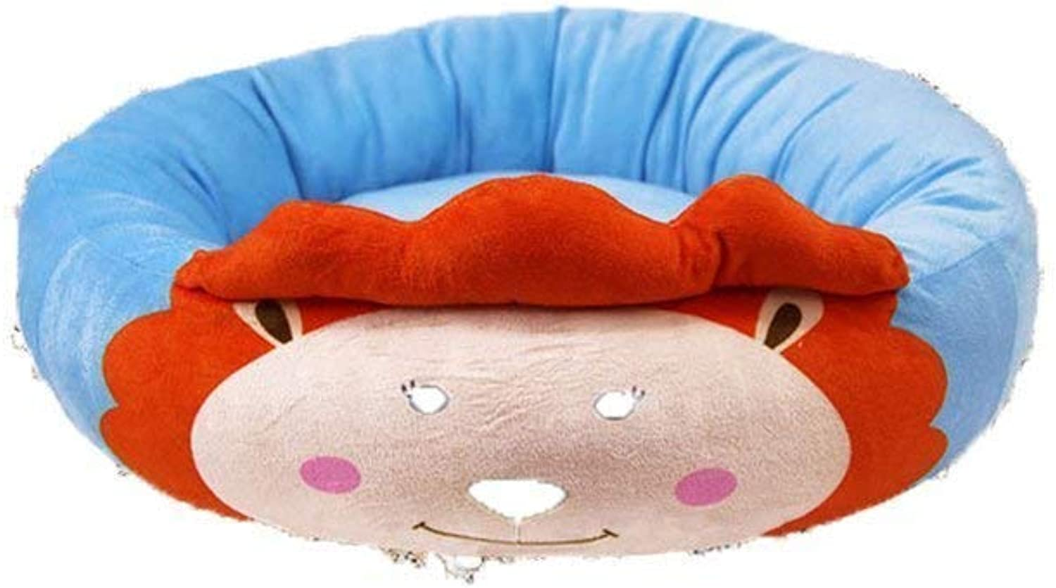 MARCU HOME Cute Cartoon Animal Style Pet Nest Autumn Winter Warm HighElastic PP Cotton with Removable Zipper Round Waterloo Dog Bed Cat Bed Mat(color   bluee Lion, Size   L) for Cat Dog