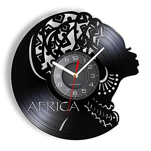 ROMK Reloj de Pared Mujer Africana, diseño Moderno, Silueta Femenina, Reloj de Pared, decoración para Sala de Estar, Obras de Arte, Relojes, álbum de Vinilo, Reloj Colgante
