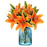 RERXN Artificial Tiger Lily Latex Real Touch Flower Home Wedding Party Decor,Pack of 5 (Orange)