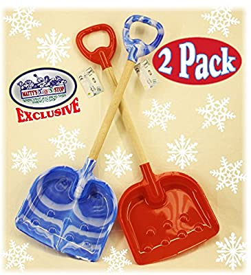 "Matty's Toy Stop 28"" Heavy Duty Wooden Snow Shovels with Plastic Scoop & Handle for Kids - 2 Pack (Red & Blue Swirl)"