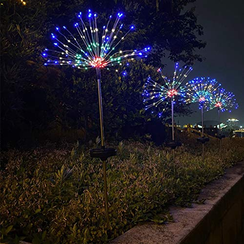 JDKC- Outdoor LED Waterproof Solar Garden Lights, Firework Stake Starburst Fairy Light, with 8 Lighting Modes, for Walkway Patio Lawn Backyard 4 Pcs (Color : Color, Size : 120LED)