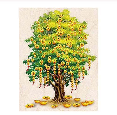 5D Círculo completo Diamante Pintura dinero árbol Punto de cruz Diy Costura Bordado de diamantes Ventas Mosaico Diamante mazayka