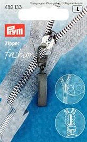 Prym Modischer Reißverschlussschieber, klassisches Metall, schwarz, Classic, 1 Stück