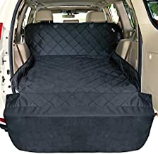 SUV Cargo Liner for Dogs F-color Water Resistant Pet Cargo Cover Dog Seat Cover Mat for SUVs Sedans Vans with Bumper Flap Protector, Non-Slip, Large Size Universal Fit, Black