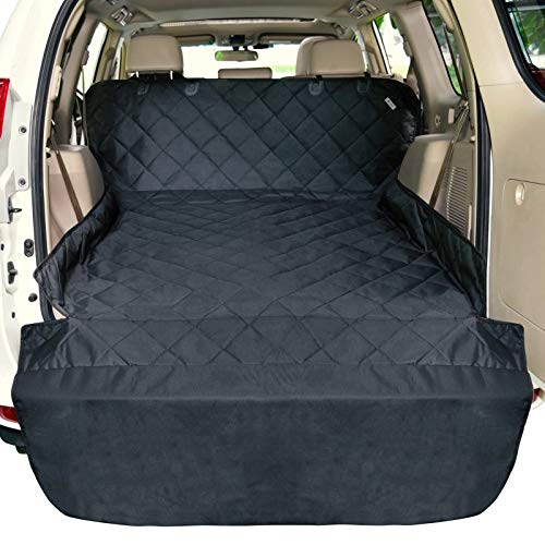 F-color SUV Cargo Liner for Dogs, Water Resistant Pet Cargo Cover Dog Seat Cover Mat for SUVs Sedans Vans with Bumper Flap Protector, Non-Slip, Large Size Universal Fit, Black