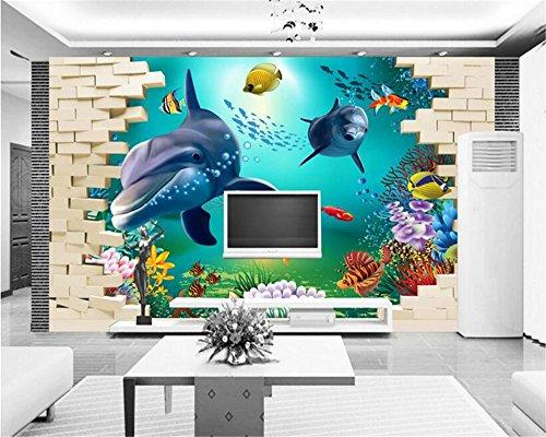 Mznm 3D Onderwater Dier Persoonlijkheid Mode Decoratieve Schilderij Zijden Doek Papel De Parede 3D Behang Tv Bank Achtergrond 120x100cm