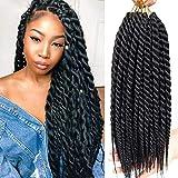 Karida 18inch Havana Twist Crochet Hair 6Pack/Lot Havana Twist Crochet Braids Jumbo Senegalese Twist Synthetic Crochet Braiding HairExtensions12 Roots/Pack (1B)