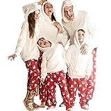Shujin Conjunto de pijama de Navidad con diseño de familia de ositos de peluche, con capucha y pantalón de pijama unisex, para invierno, hombre, mujer y niños Color blanco. 3 años