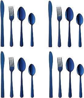 BuyGo Blue Dinnerware Set for 4 Silverware Set Stainless Steel Flatware Set 16-Piece Cutlery Set Tableware set, Dishwasher Safe
